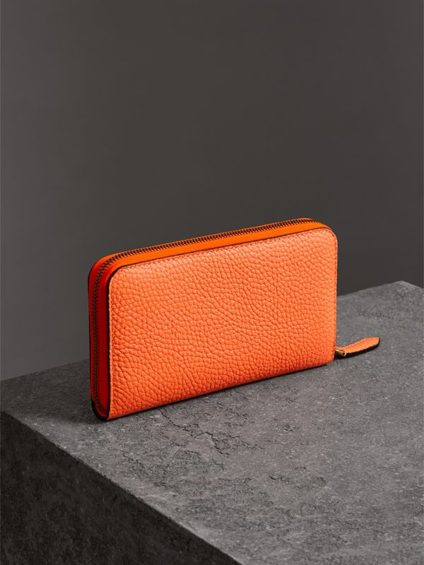Embossed Leather Ziparound Wallet in Bright Orange - Women | Burberry United Kingdom - cell image 2