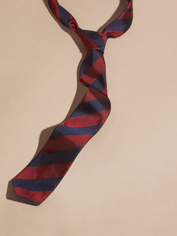 Slim Cut Stripe Jacquard Silk Tie Parade Red