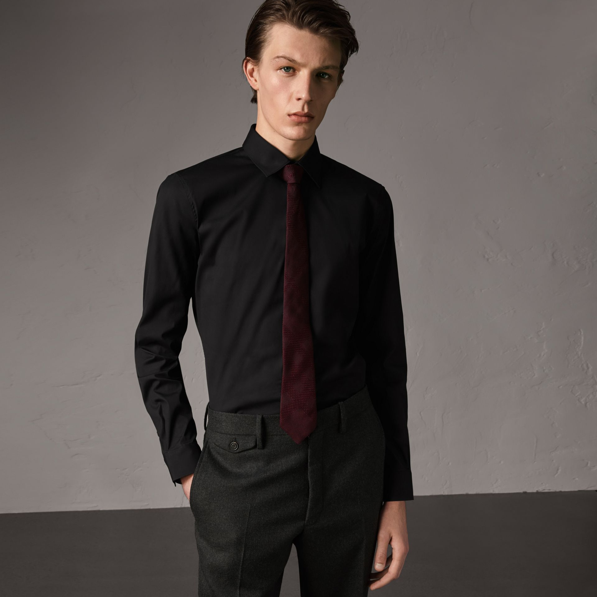 Slim Fit Stretch Cotton Shirt in Black - Men | Burberry United Kingdom - gallery image 0