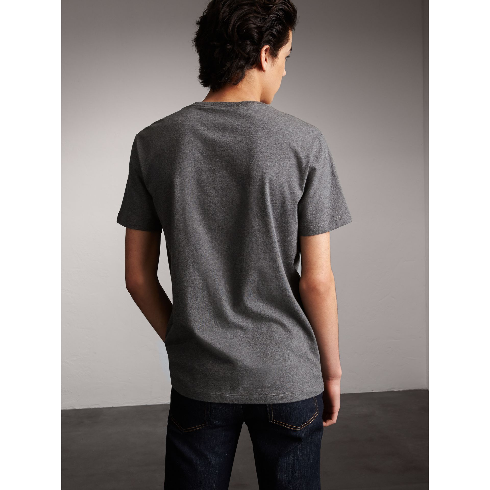 Flocked and Embroidered Beasts Print Cotton T-shirt in Mid Grey Melange - Men | Burberry - gallery image 3