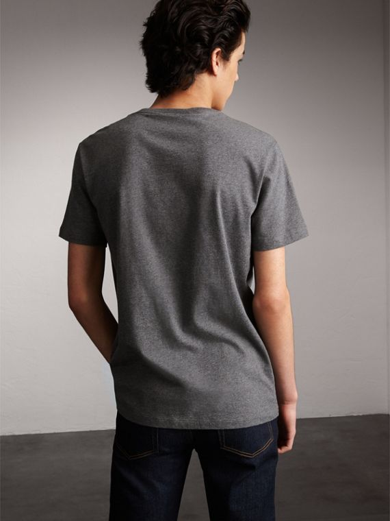Flocked and Embroidered Beasts Print Cotton T-shirt in Mid Grey Melange - Men | Burberry - cell image 2