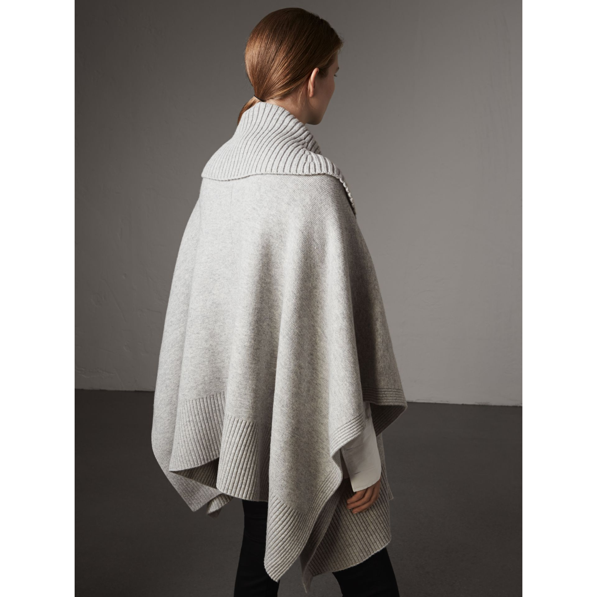 Shawl Collar Wool Cashmere Poncho in Mid Grey Melange - Women | Burberry Australia - gallery image 3