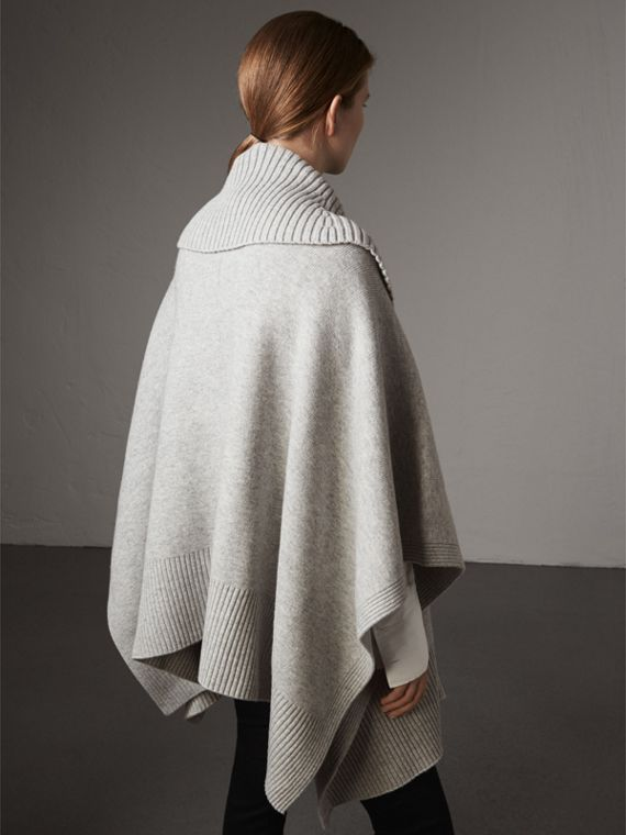 Shawl Collar Wool Cashmere Poncho in Mid Grey Melange - Women | Burberry Australia - cell image 2
