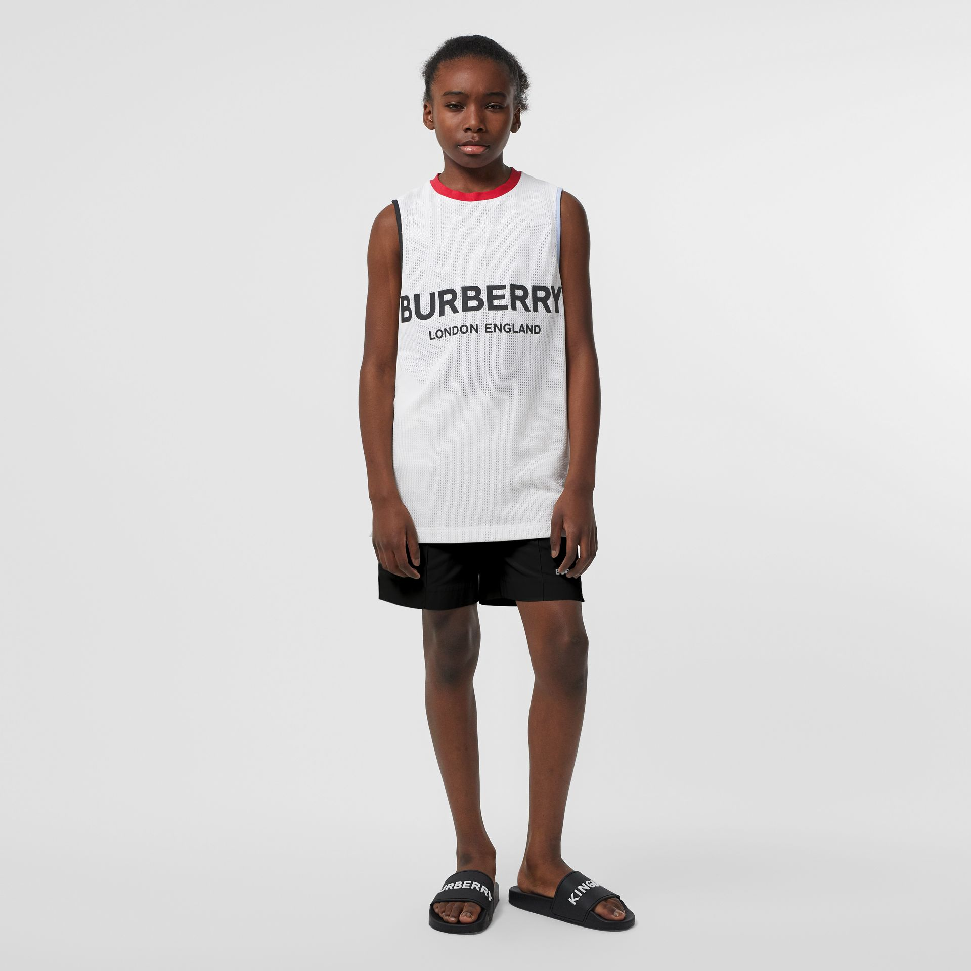Logo Print Mesh Vest in White - Children | Burberry - gallery image 2