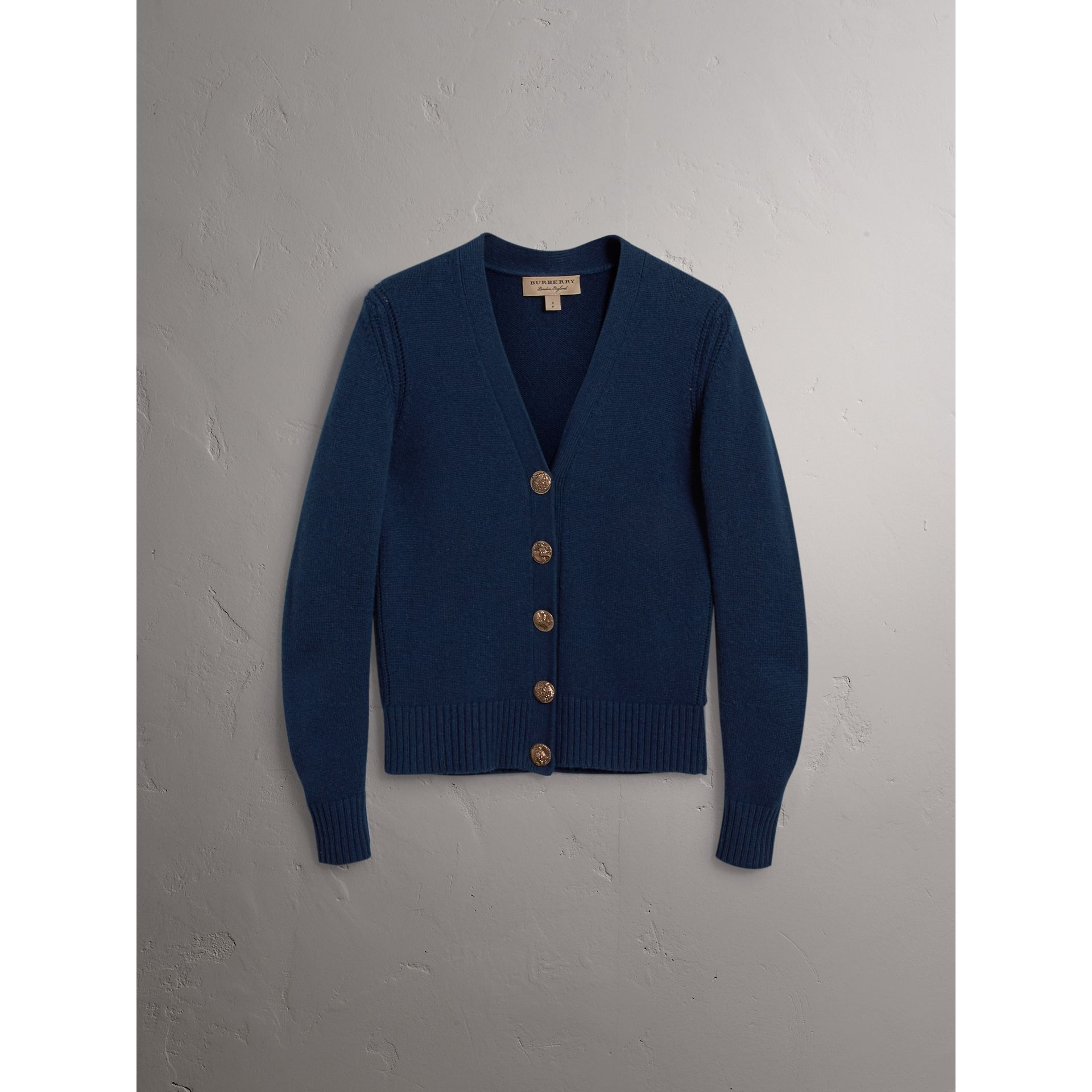 Bird Button Cashmere Cardigan in Navy - Women | Burberry Australia - gallery image 3
