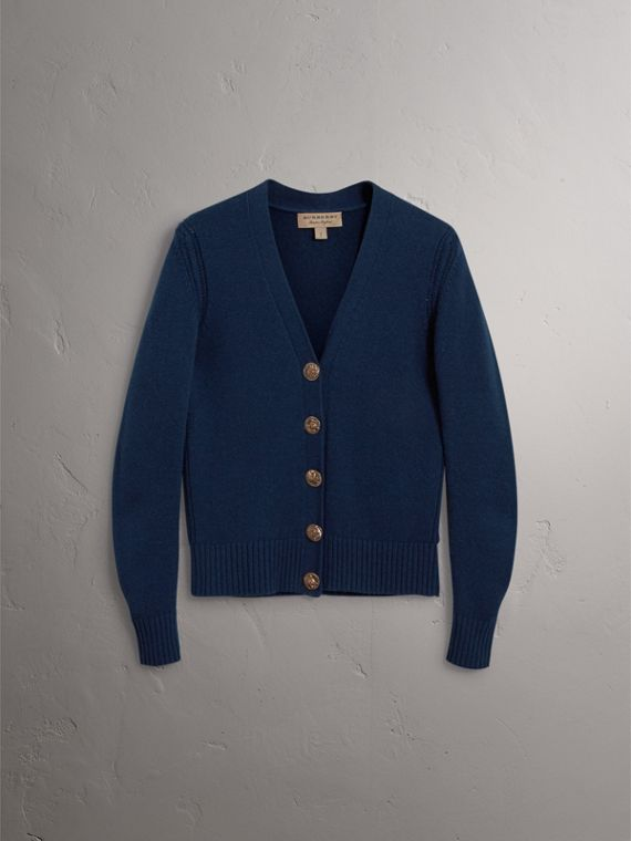 Bird Button Cashmere Cardigan in Navy - Women | Burberry United Kingdom - cell image 3