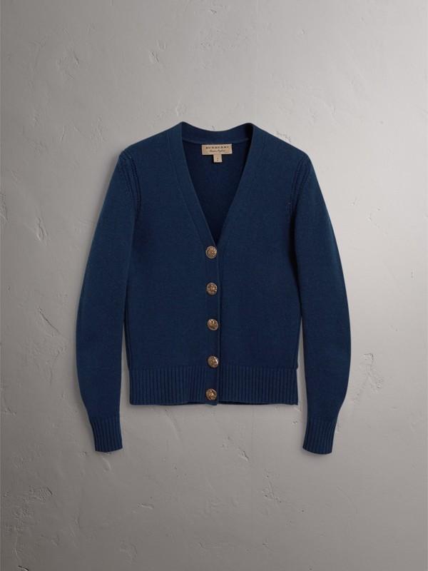 Cardigã de cashmere com botões com emblema de pássaro (Azul Marinho) - Mulheres | Burberry - cell image 3