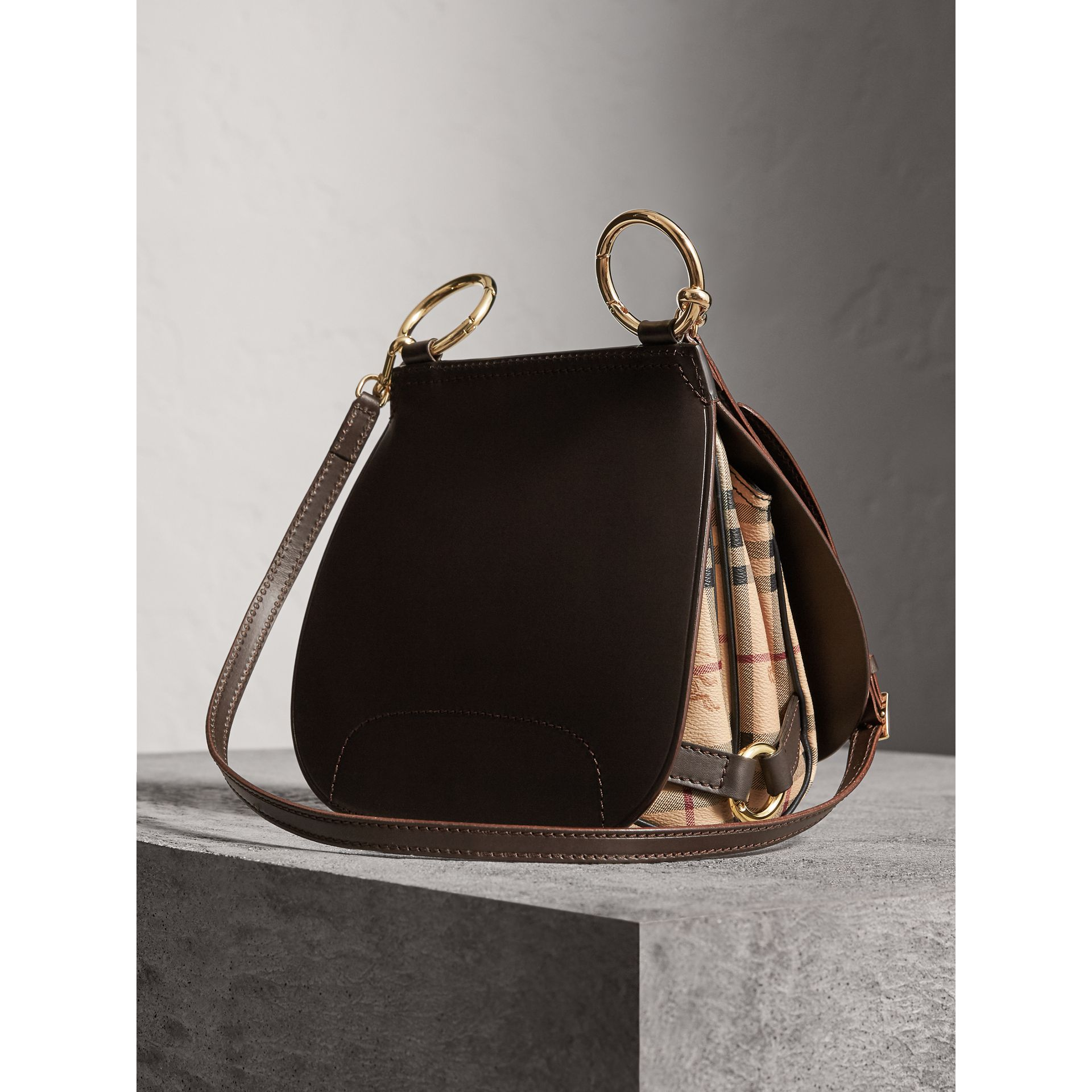 The Bridle Bag in Leather and Haymarket Check in Dark Clove Brown - Women | Burberry - gallery image 5