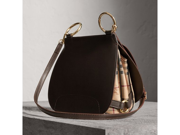The Bridle Bag in Leather and Haymarket Check in Dark Clove Brown - Women | Burberry Canada - cell image 4