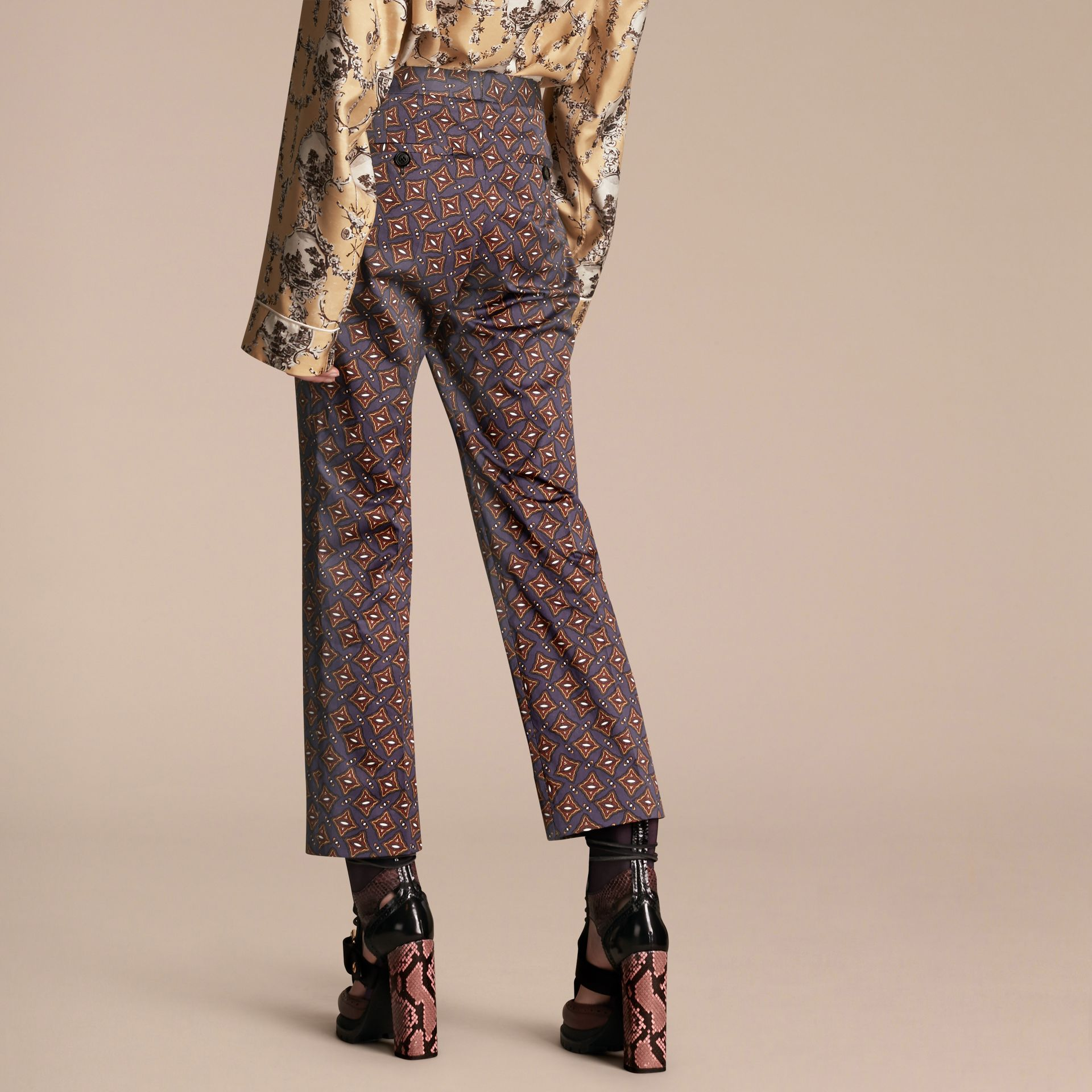 Cropped Scattered Geometric Tile Print Cotton Trousers - gallery image 3