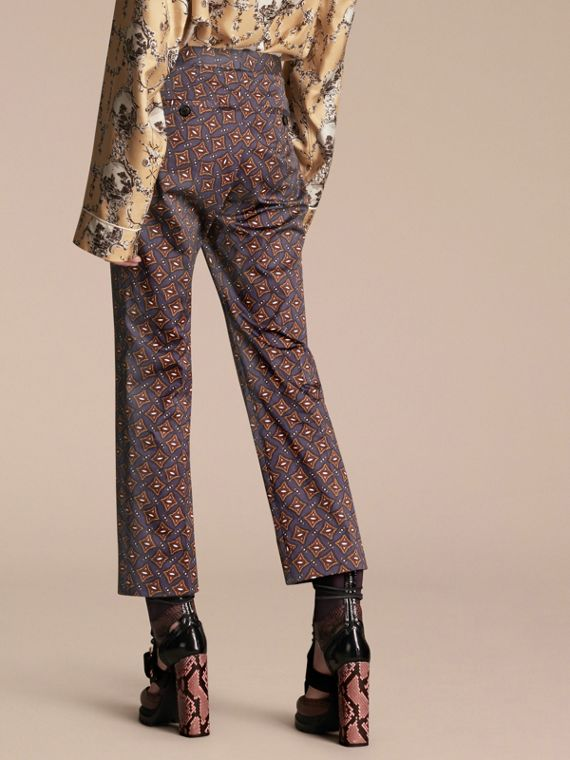 Cropped Scattered Geometric Tile Print Cotton Trousers - cell image 2