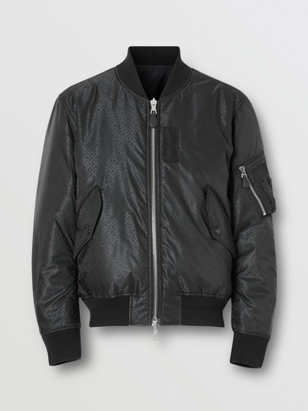 Reversible Monogram ECONYL® Jacquard Bomber Jacket in Black - Men | Burberry - cell image 3