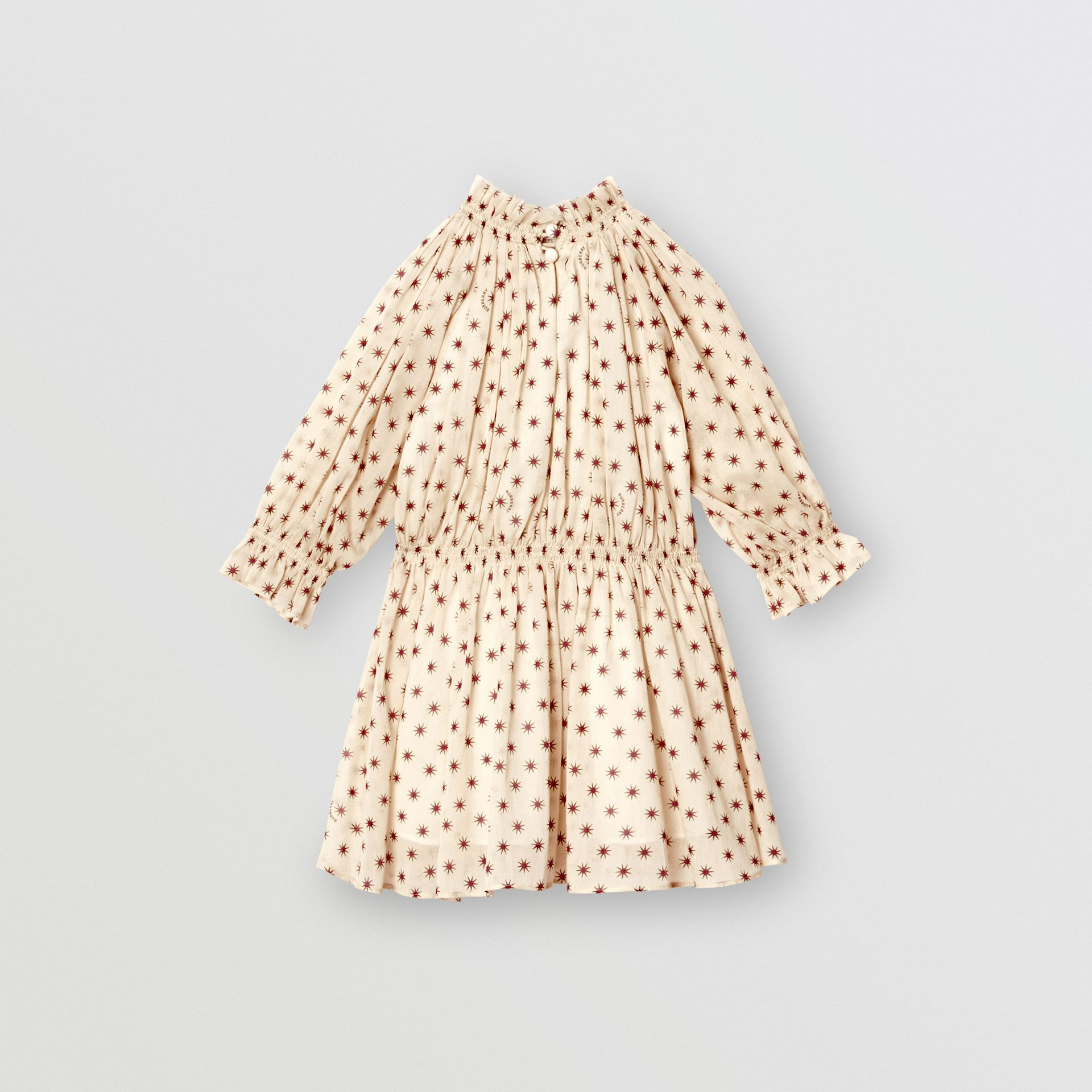 Star Print Gathered Cotton Dress in Military Red - Children | Burberry United Kingdom - gallery image 3