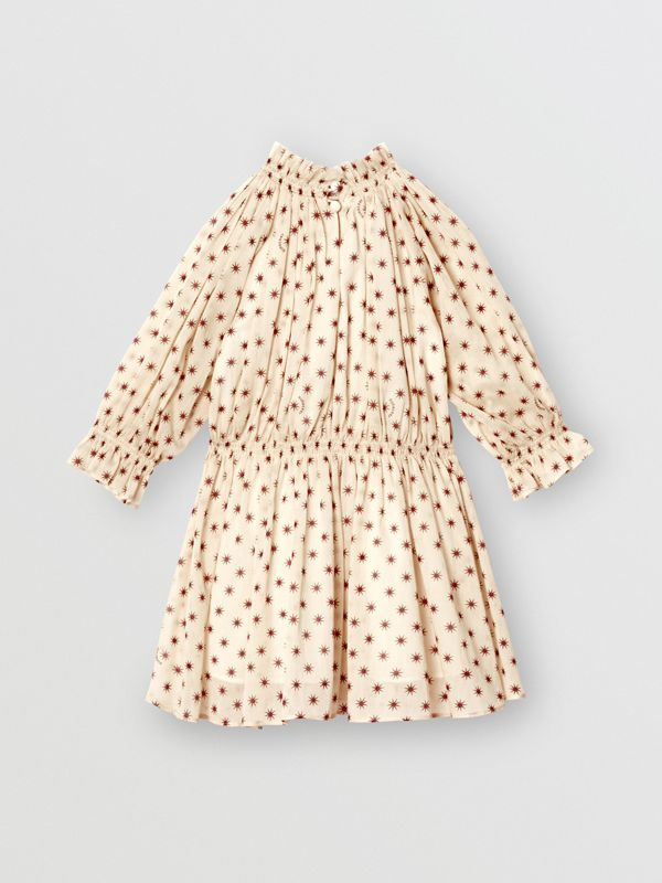 Star Print Gathered Cotton Dress in Military Red - Children | Burberry - cell image 3