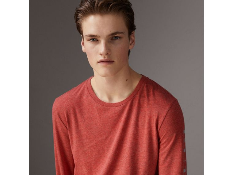 Devoré Jersey Top in Bright Red Melange - Men | Burberry - cell image 4