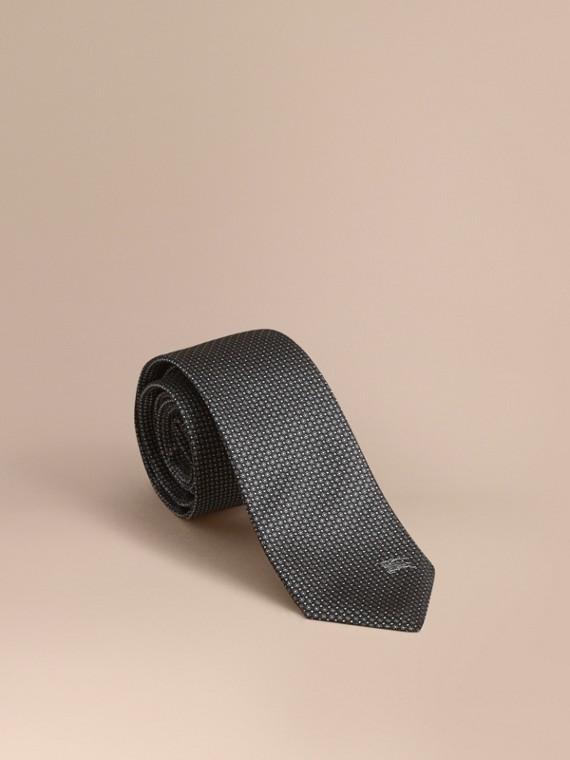 Modern Cut Patterned Silk Tie in Black