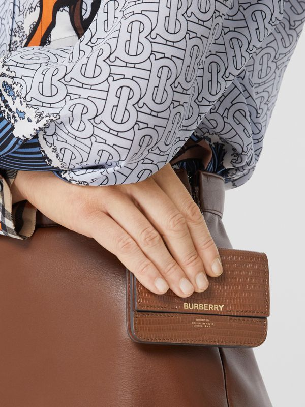 Embossed Deerskin Card Case with Chain Strap in Tan - Women | Burberry - cell image 2