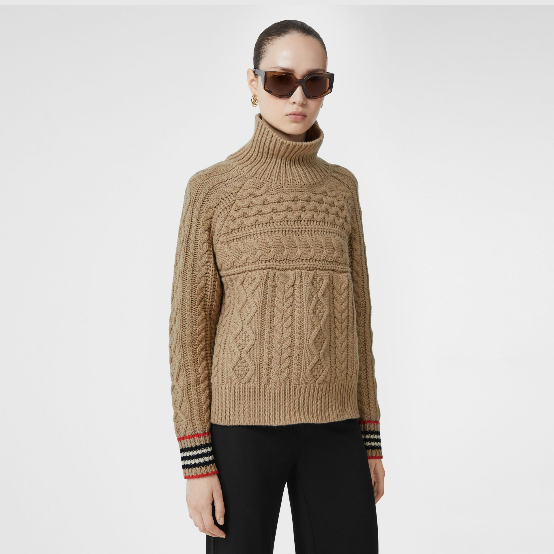 Icon Stripe Cuff Cable Knit Cashmere Sweater in Camel - Women | Burberry - gallery image 4