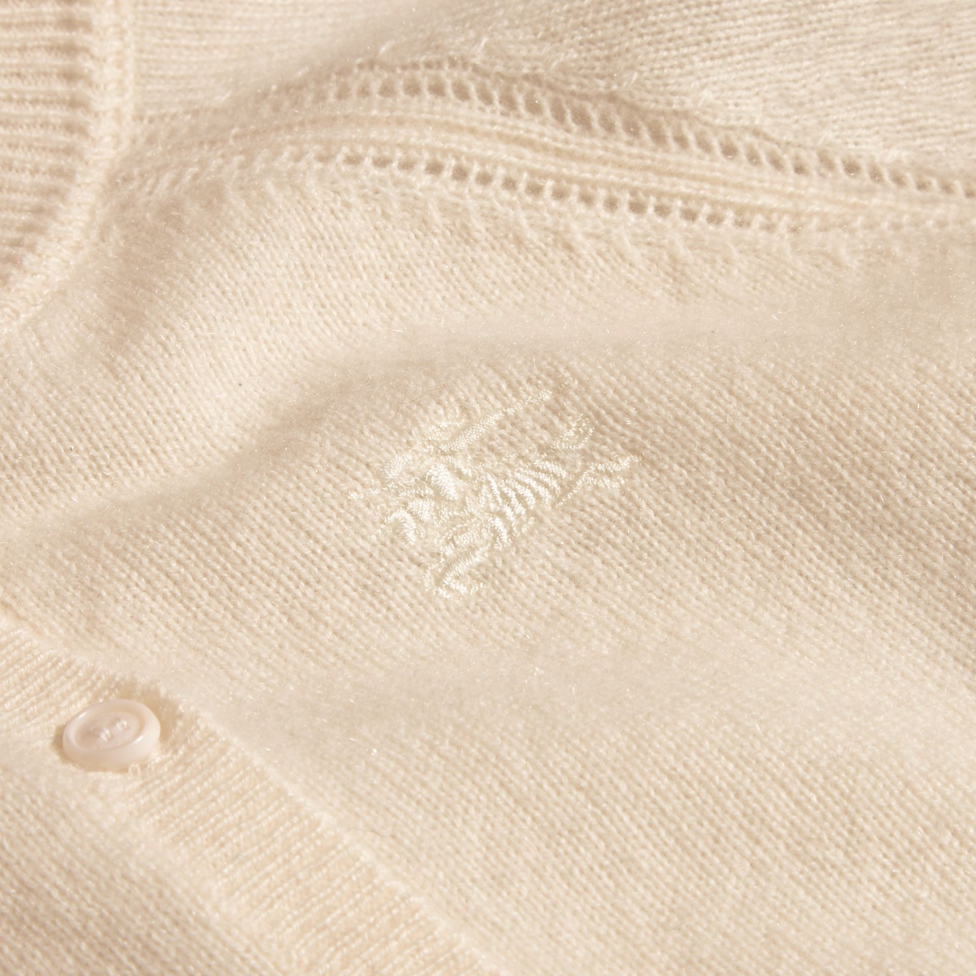 Check Cuff Cashmere Cardigan in Natural White - Girl | Burberry - gallery image 2