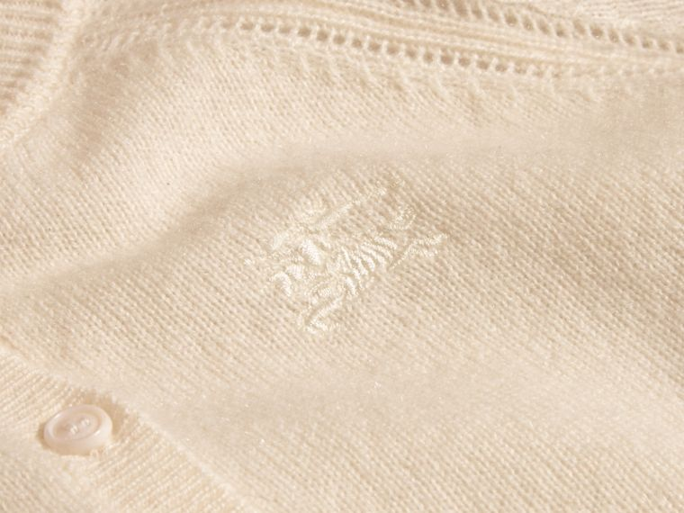 Check Cuff Cashmere Cardigan in Natural White - Girl | Burberry - cell image 1