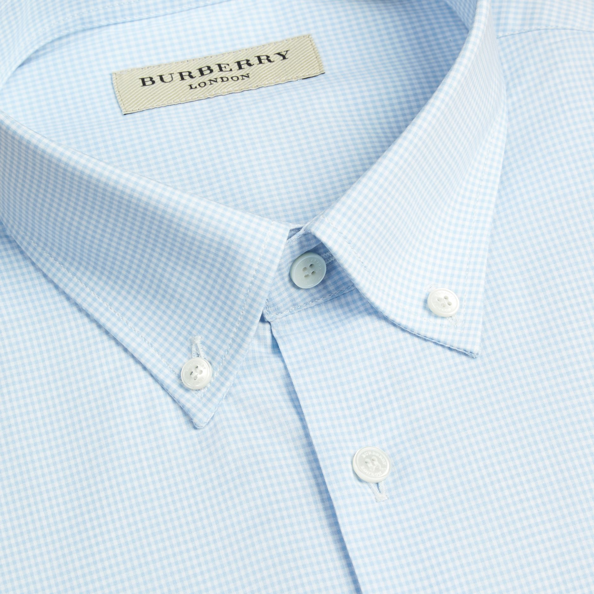 Modern Fit Button-down Collar Gingham Cotton Shirt in City Blue - gallery image 3