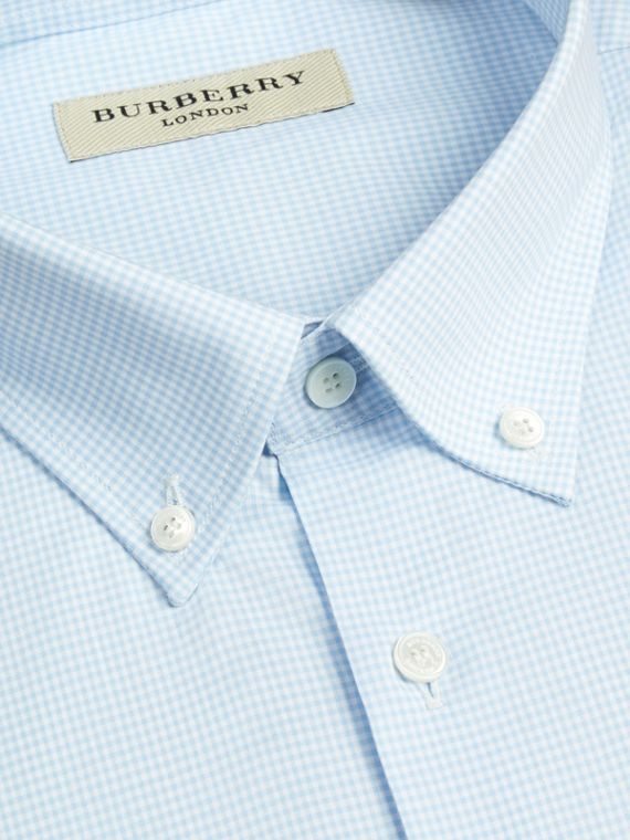 Modern Fit Button-down Collar Gingham Cotton Shirt in City Blue - cell image 2