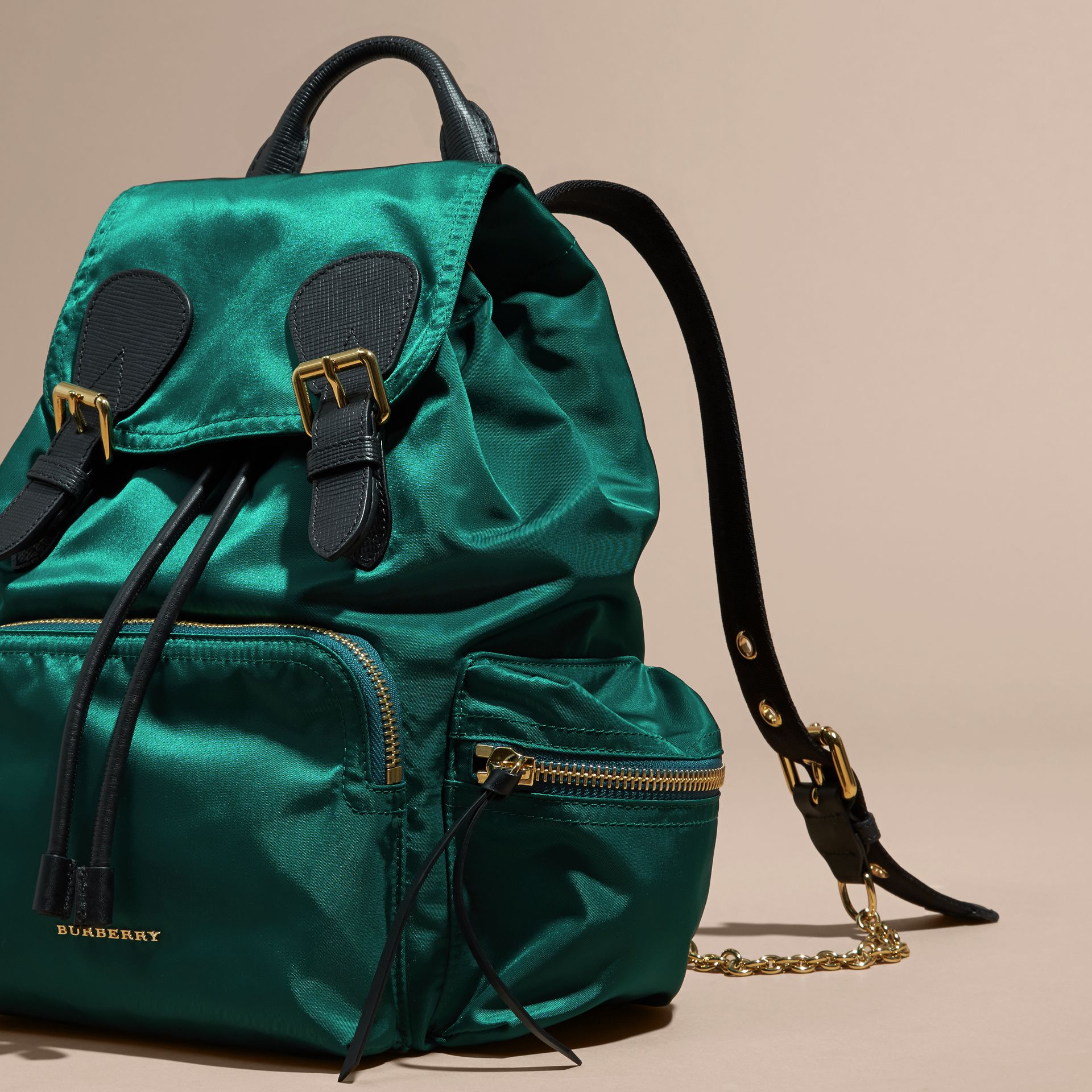 Pine green The Medium Rucksack in Technical Nylon and Leather Pine Green - gallery image 7