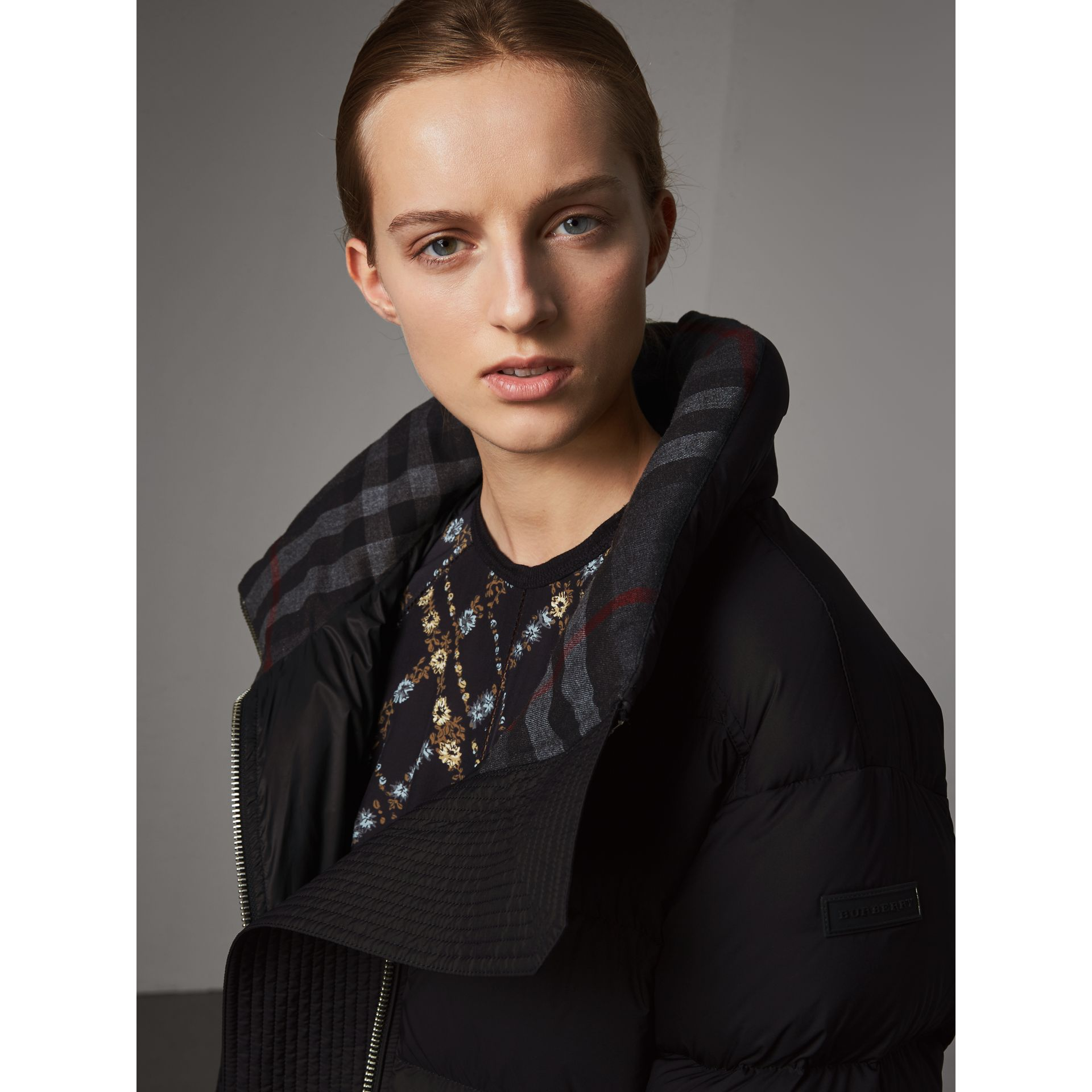 Detachable Hood Down-filled Peplum Jacket in Black - Women | Burberry - gallery image 2
