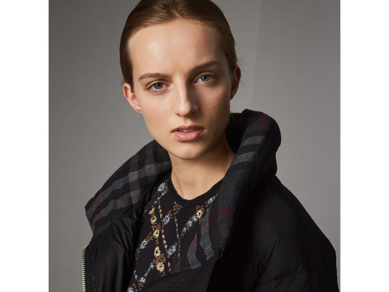 Detachable Hood Down-filled Peplum Jacket in Black - Women | Burberry - cell image 1