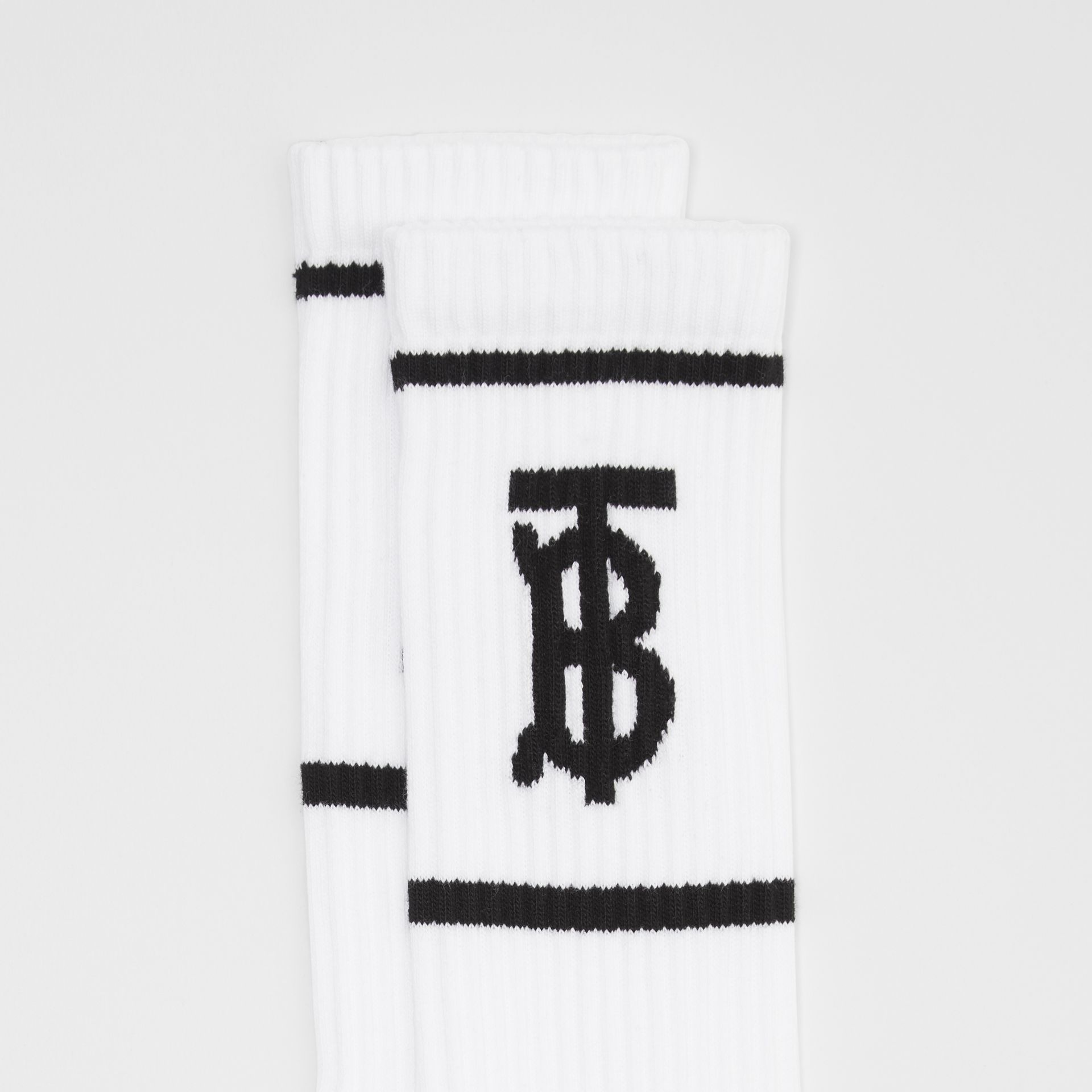 Monogram Motif Intarsia Socks in White | Burberry - gallery image 1