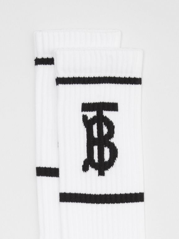 Monogram Motif Intarsia Socks in White | Burberry Singapore - cell image 1