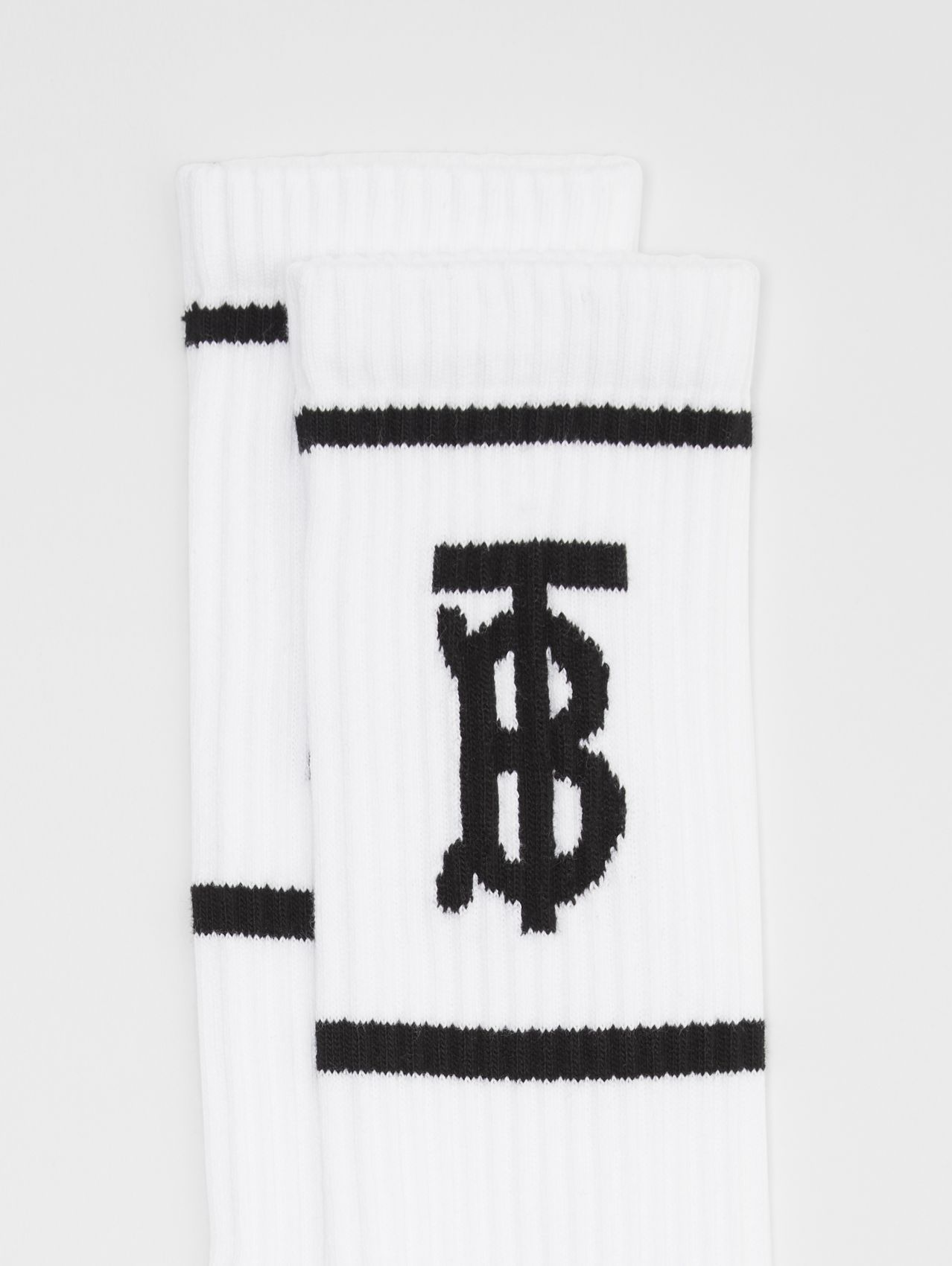 Monogram Motif Intarsia Socks (White)