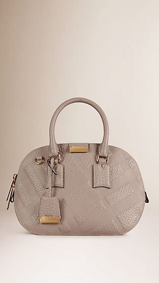 The Small Orchard in Embossed Check Leather Pale Grey