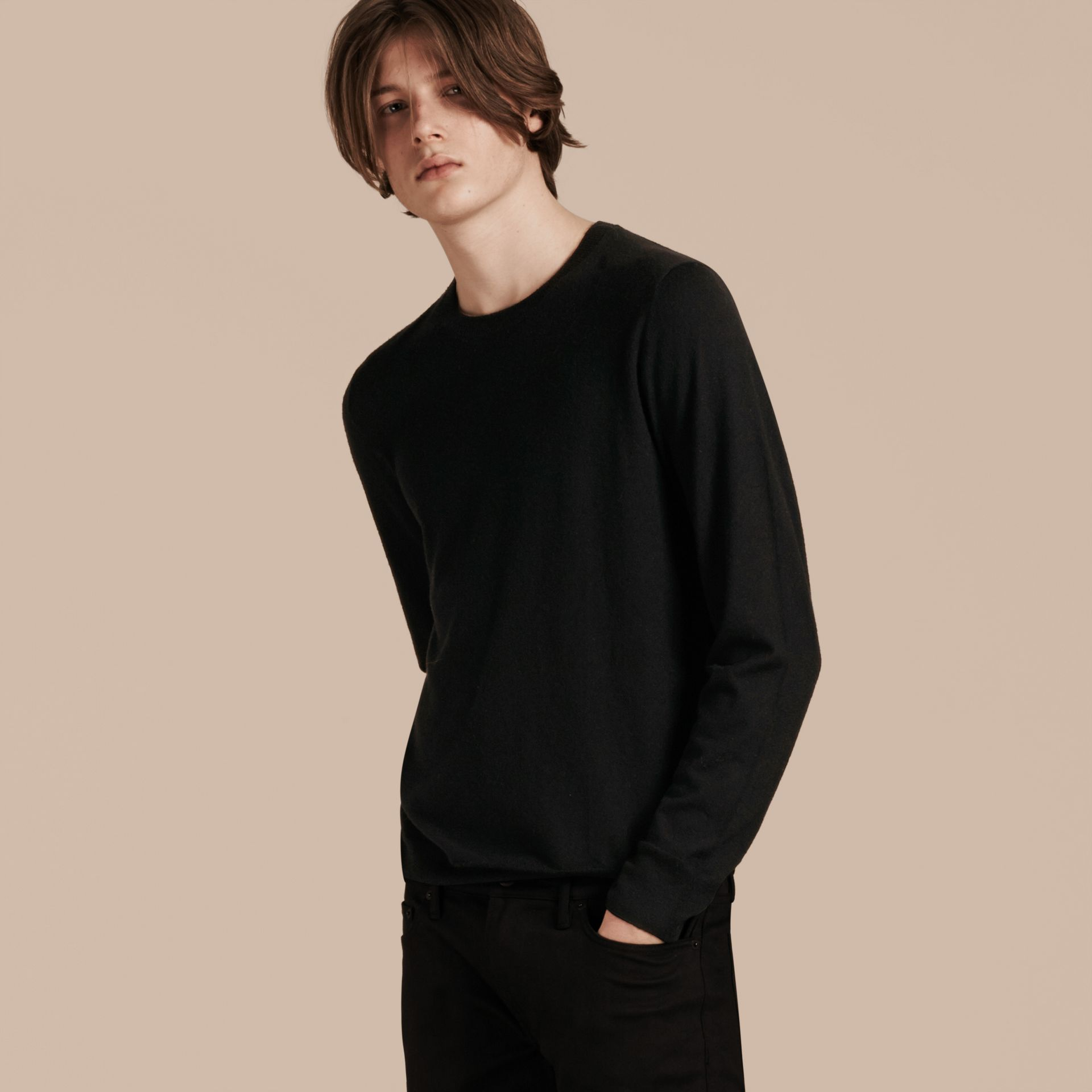 Black Lightweight Crew Neck Cashmere Sweater with Check Trim Black - gallery image 6