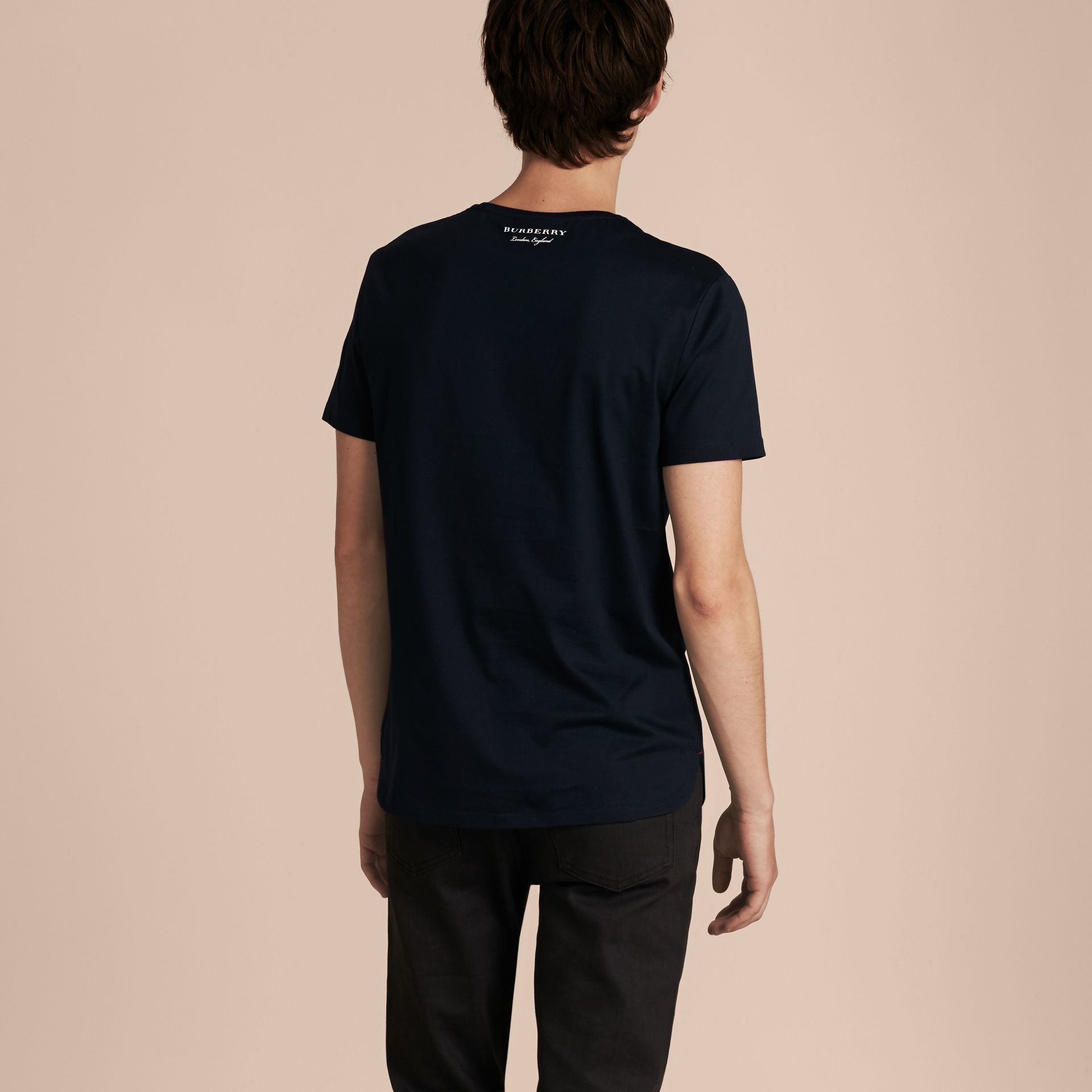 Crew Neck Cotton T-shirt Navy - gallery image 3