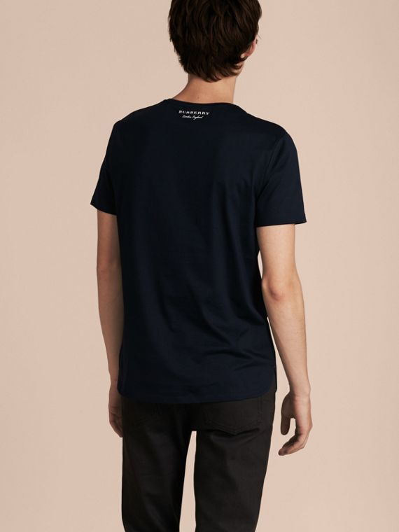 Crew Neck Cotton T-shirt in Navy - Men | Burberry - cell image 2