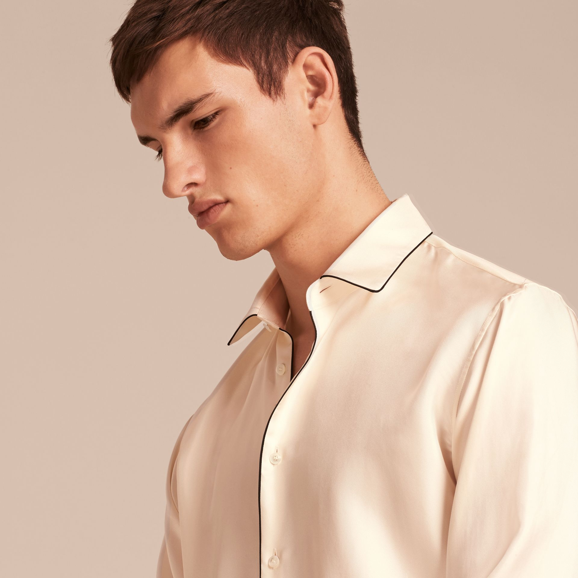 Natural white Piped Modern Fit Silk Shirt - gallery image 5