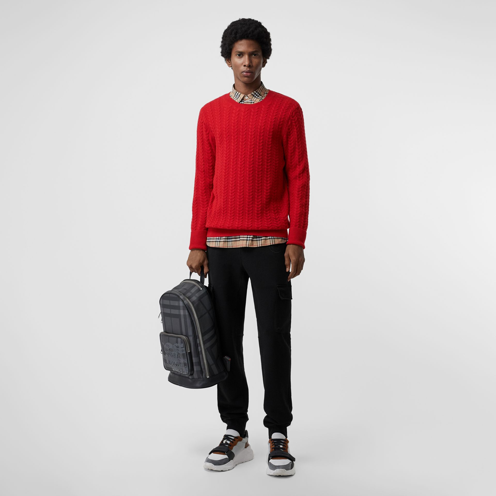 Cable Knit Cashmere Sweater in Military Red - Men | Burberry - gallery image 0