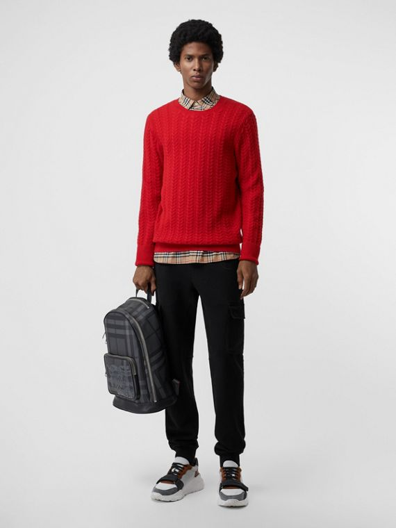 Cable Knit Cashmere Sweater in Military Red