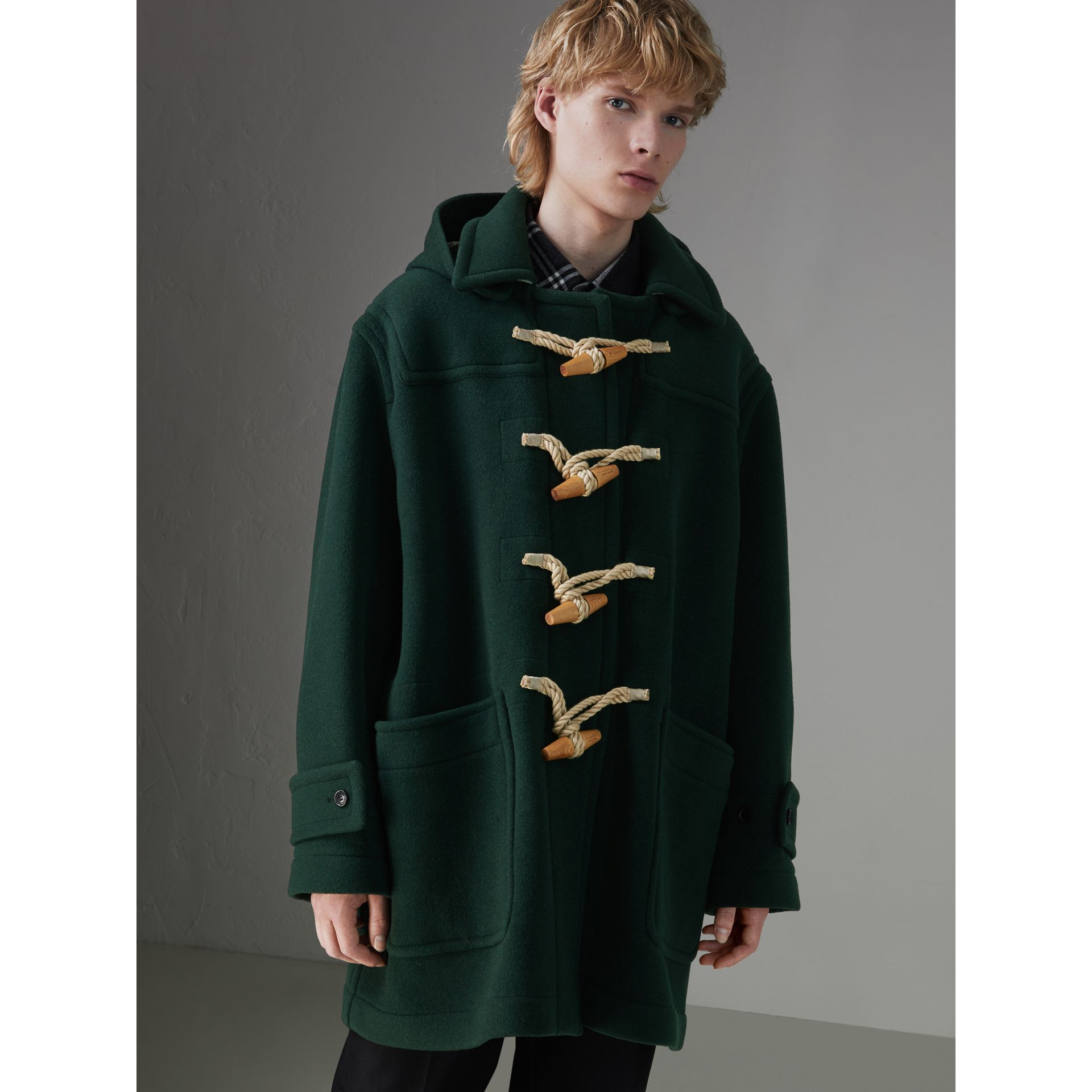 Gosha x Burberry Oversized Duffle Coat in Dark Forest Green | Burberry Australia - gallery image 6