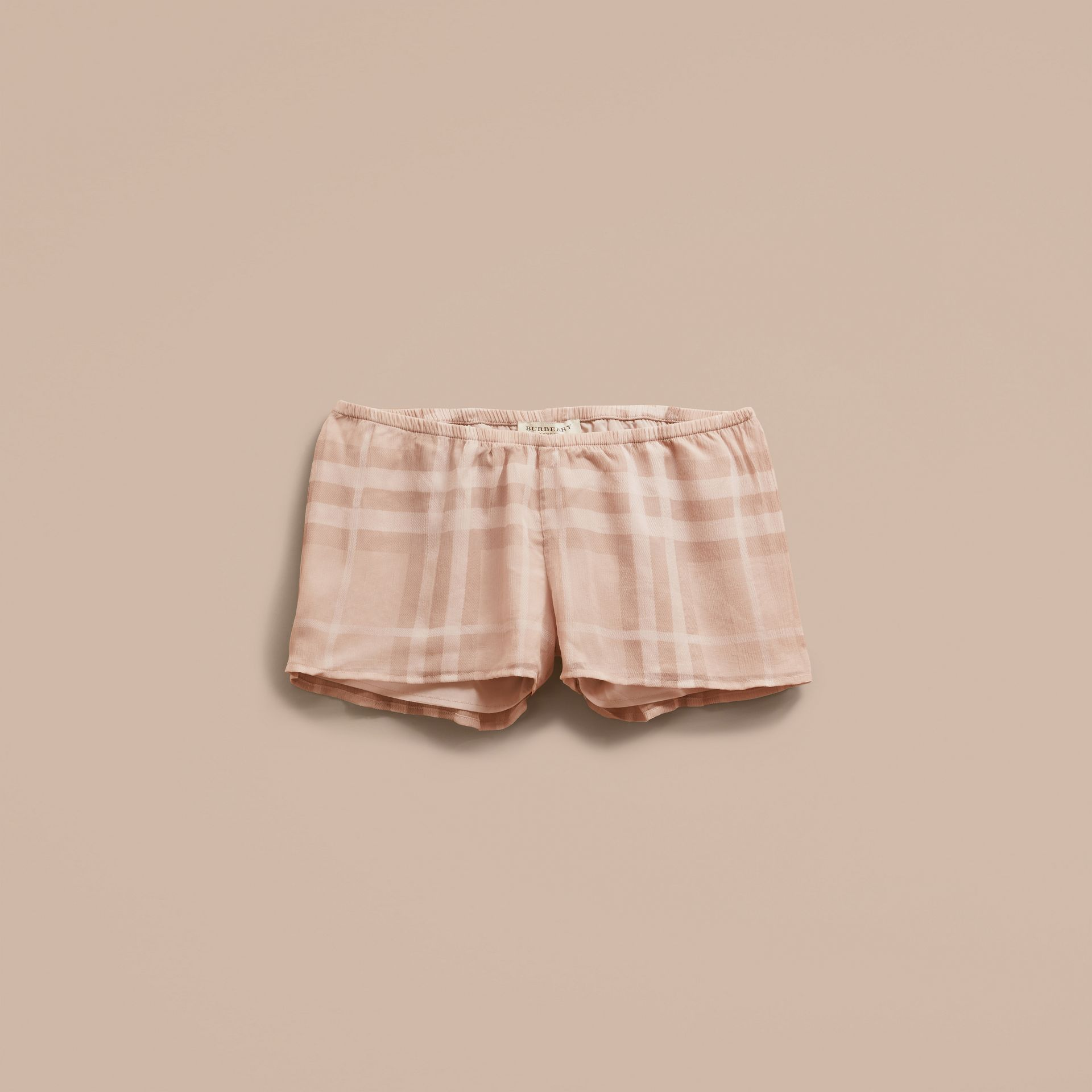 Tonal Check Silk Crepon Shorts Nude - gallery image 4