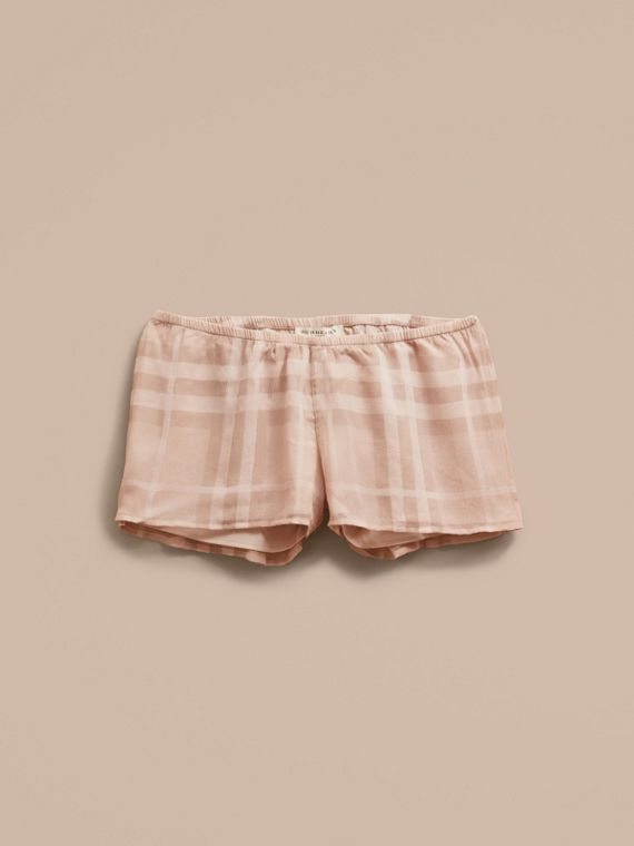 Tonal Check Silk Crepon Shorts Nude - cell image 3