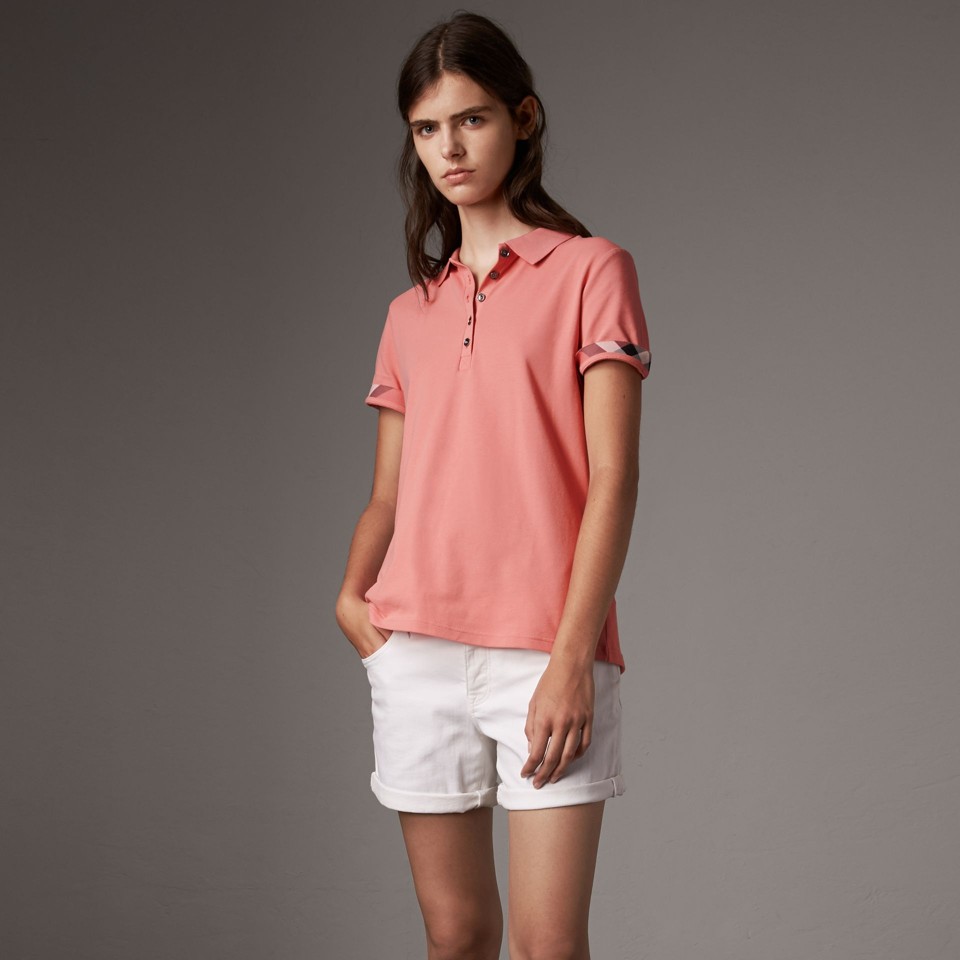 Check Trim Stretch Cotton Piqué Polo Shirt in Carnation Pink - Women | Burberry - gallery image 0