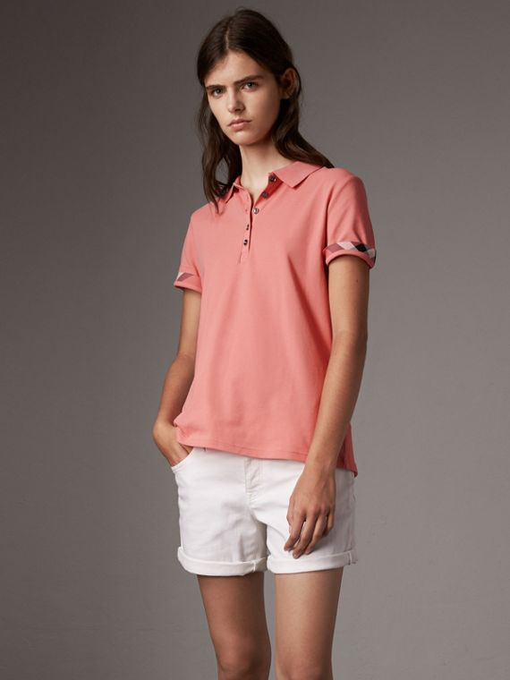 Check Trim Stretch Cotton Piqué Polo Shirt in Carnation Pink