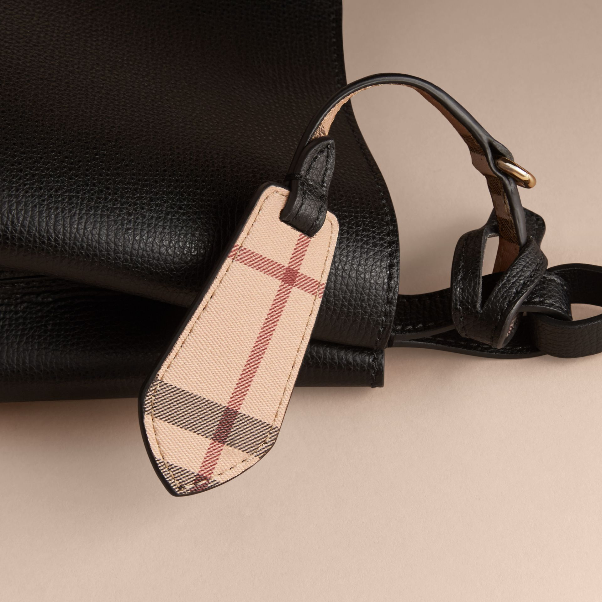 Leather and Haymarket Check Crossbody Bucket Bag in Black - Women | Burberry - gallery image 6