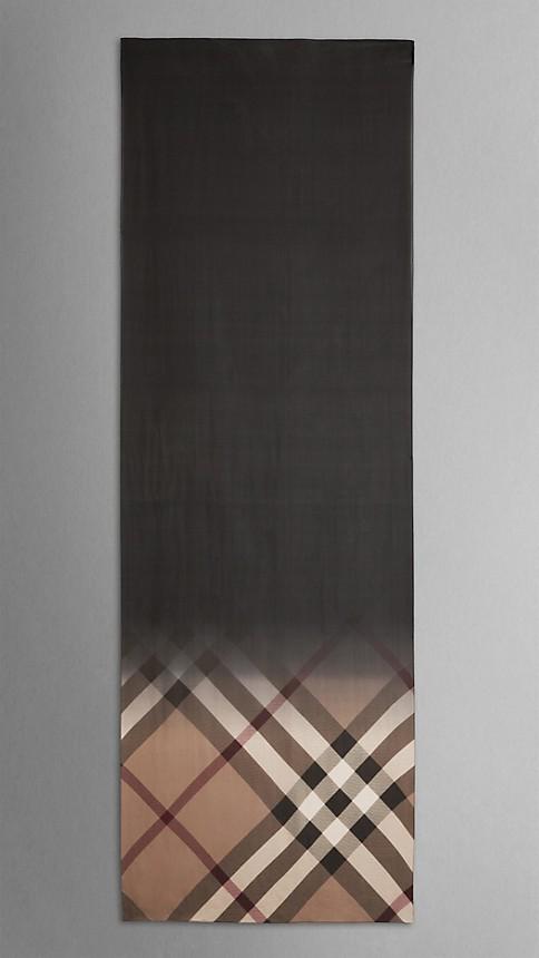 Black check Check Ombre Silk Scarf - Image 3