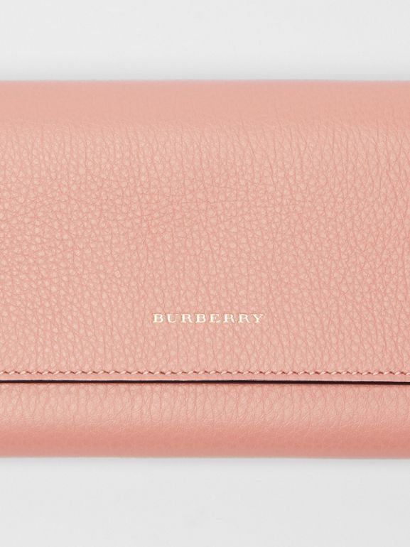 Leather Continental Wallet in Ash Rose - Women | Burberry United Kingdom - cell image 1