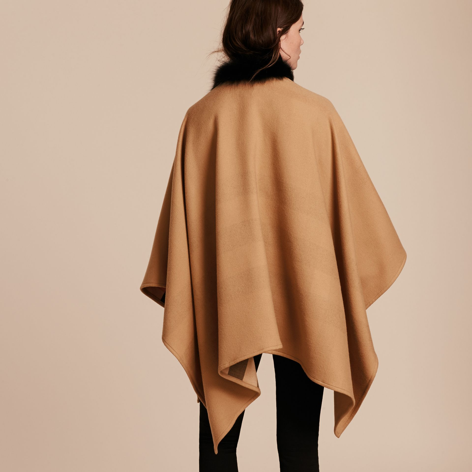 Check Merino Wool Poncho with Fox Fur Trim in Camel - Women | Burberry - gallery image 3