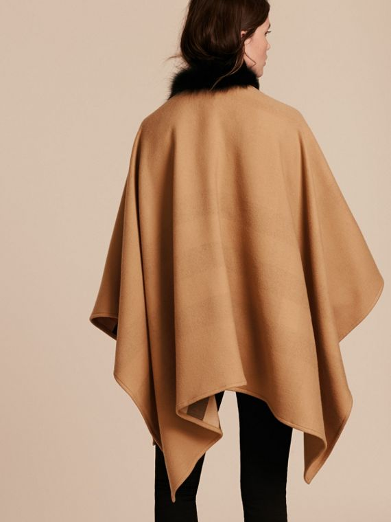 Check Merino Wool Poncho with Fox Fur Trim in Camel - Women | Burberry - cell image 2