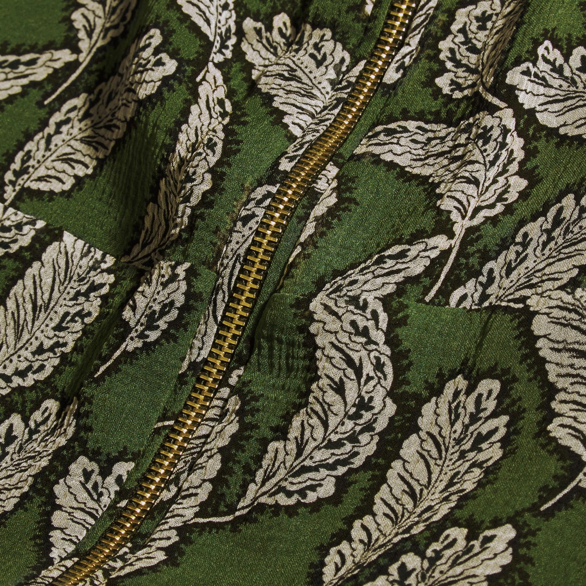 Dusty green Leaf Print Silk Midi Dress - gallery image 2
